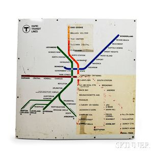 Two Early MBTA Enameled Rapid Transit Maps