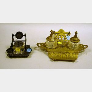 Victorian Black Painted Cast Iron Inkstand and a Brass Inkstand