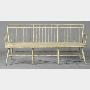 White-painted Windsor Square-back Bamboo-turned Settee