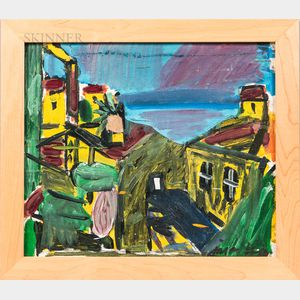Jason Berger (American, 1924-2010)      Landscape with Yellow Buildings