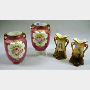 Pair of Austrian Ceramic Vases and a Pair of Gilt Floral Decorated Porcelain Vases.