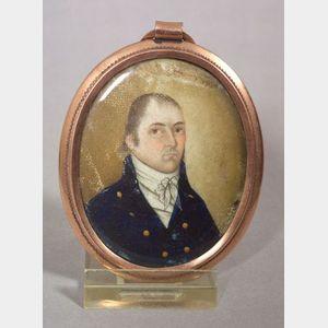 American School, 19th Century      Miniature Portrait of a Gentleman