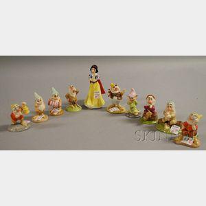Ten Royal Doulton/Disney Snow White and the Seven Dwarfs Ceramic Figures