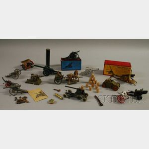 Fourteen Assorted Toy Painted Metal Artillery Pieces