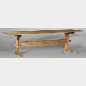 Pine Trestle-foot Harvest Table