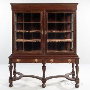 Jacobean-style Mahogany and Walnut Veneer Display Cabinet