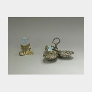 Pairpoint Silver Plated Three-part Shell-form Nut Dish with an Oak Leaf and Acorn Bud Vase.