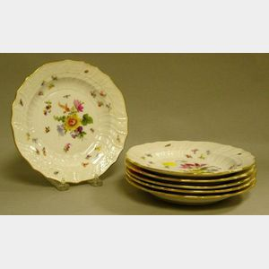 Set of Six Meissen Gilt and Handpainted Floral Decorated Porcelain Plates