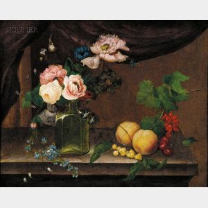 William Quaker Pegg (British, 1775-1851)      Still Life with Fruit and Flowers