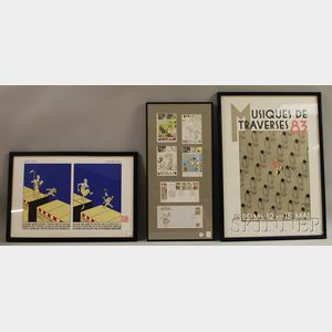 Three Joost Swarte (Dutch, b. 1947) Framed Works