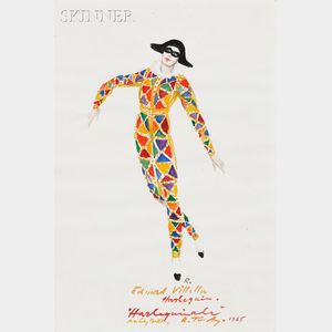 Rouben Ter-Arutunian (American, 1920-1992)      Costume Design for Edward Villella in Harlequinade