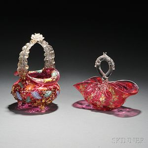 Two Moser-type Enameled and Gilded Cranberry Glass Baskets