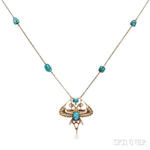Art Deco Gold, Turquoise, Plique-a-jour Enamel, and Diamond Necklace/Brooch,