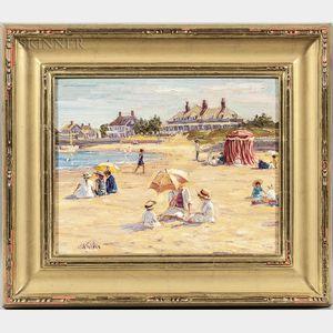 Brian A. Becken (American, b. 1949)      Figures on a Sunny Beach
