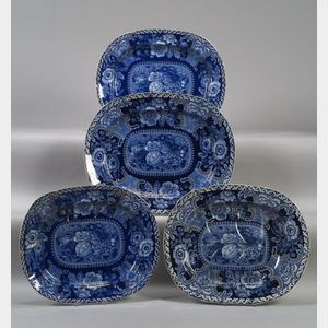 Four Large Blue Transfer Decorated Staffordshire Pottery Platters