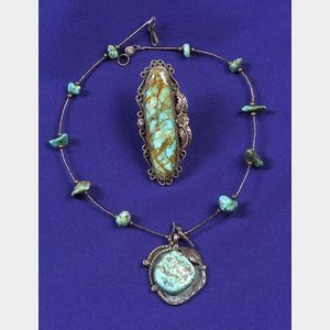 Silver and Turquoise Ring and Pendant Necklace