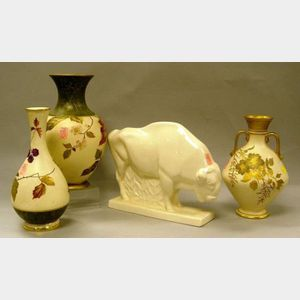 Three Wedgwood Gilt and Enamel Floral Decorated Porcelain Vases and a Skeaping    Buffalo Figure