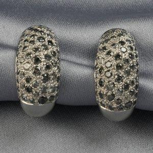 18kt White Gold, Diamond, and Black Diamond Earclips, Cartier
