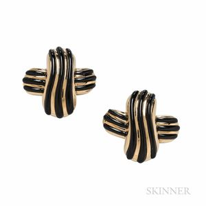 Angela Cummings 18kt Gold and Black Jade Earrings