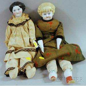 Two China Head Dolls