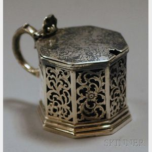 Victorian Reticulated Silver Cobalt Glass-lined Mustard Pot