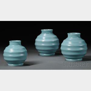 Three Wedgwood Keith Murray Design Blue-glazed Vases