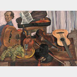 Bertram Hartman (American, 1882-1960)    Still Life with Stringed Instruments and Self Portrait