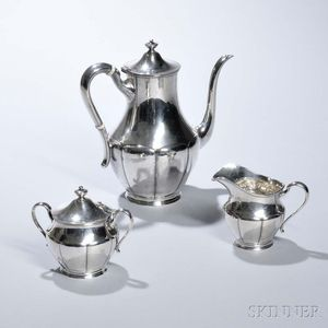 Three-piece Arts and Crafts Sterling Silver Coffee Service