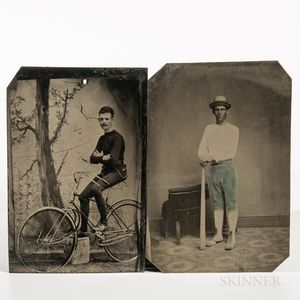 Two Sixth-plate Sporting Tintype Photographs