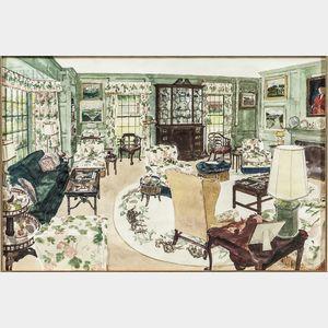 Robert Bowden (American, b. 1932)      Library at Vallamont