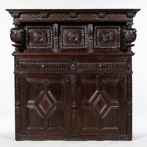 Carved Oak Court Cupboard