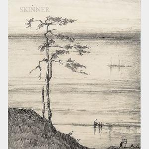 Léon Dabo (American, 1868-1960)      Two Drawings: Riverside Tree