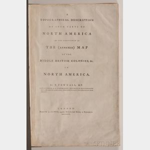 Sold for: $14,220 - (Maps and Charts, North America), Pownall, Thomas (1722-1805)