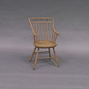 Painted Bamboo-turned Birdcage Windsor Armchair