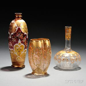 Three Moser-type Gilded and Enameled Glass Vases