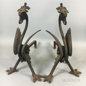 Pair of Cast Iron Griffin-form Andirons
