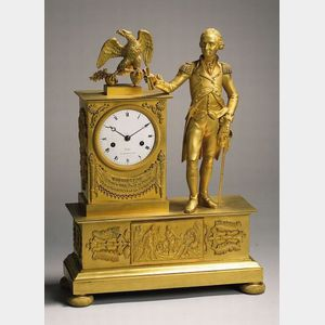 Sold for: $314,000 - A Neoclassical Cast-Brass and Mercury-Gilded Mantel Clock