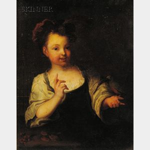 Continental School, 18th Century      Portrait of a Child with a Pet Bird