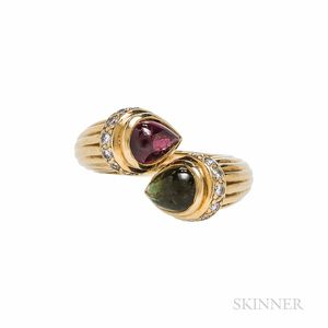 Marlene Stowe 18kt Gold and Pink and Green Tourmaline Bypass Ring