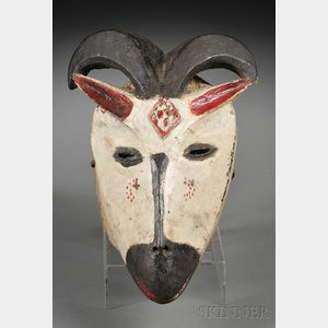 Abua Carved and Painted Wood Goat Mask
