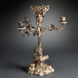 Victorian Three-light Silver-plate Candelabra