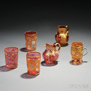 Six Pieces of Moser-type Gilded and Enameled Glass
