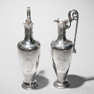 Pair of Victorian Sterling Silver Ewers