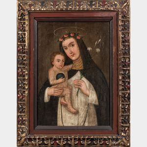 Spanish Colonial (Cusco) School, 19th Century      Saint Rose of Lima with the Child Jesus