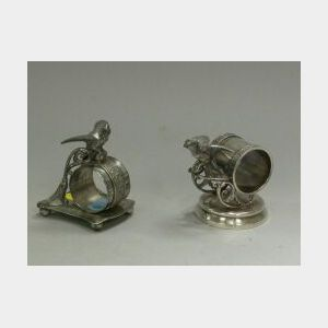 Two Pairpoint Silver Plated Parrot Figural Napkin Rings.