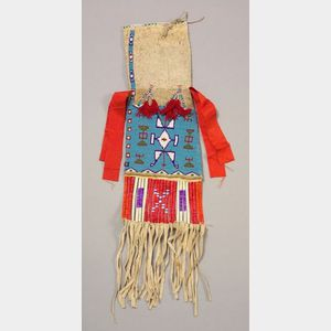 Central Plains Beaded and Quilled Hide Pipe Bag