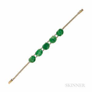 14kt Gold and Jade Bracelet