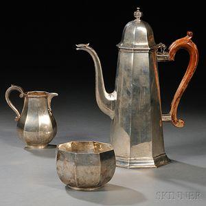 Three-piece Elizabeth II Sterling Silver Coffee Service