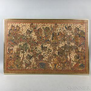 Framed Balinese Textile with Mythological Figures