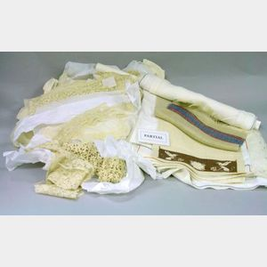 Large Assortment of Laces, Trims, and Fragments and Assorted Linens